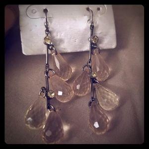 Vintage Clear Crystal Dangled Earrings